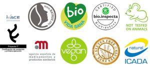 sellos certificaciones natural cosmetic lab espana ivace vegan bio natrue icada